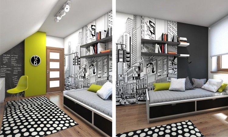 Alfombra y pared en blanco y negro en la habitaci n - Alfombra habitacion nina ...