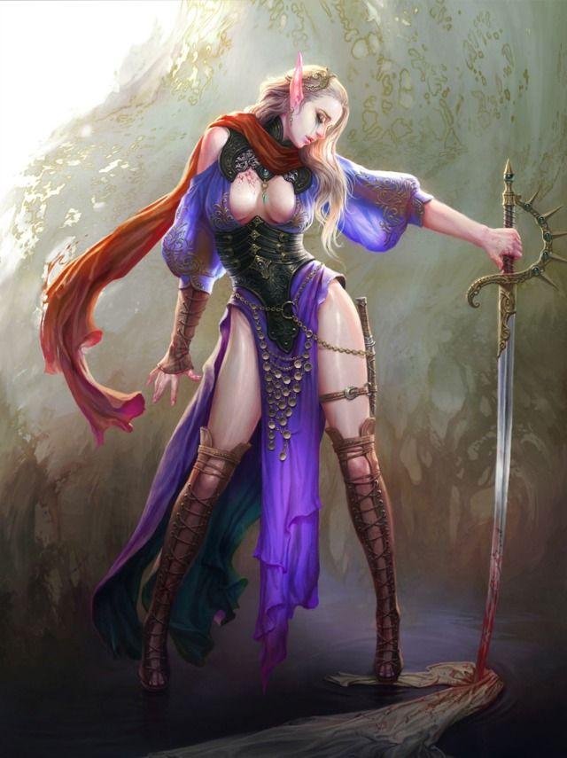 fantasy elf Hot art female warriors