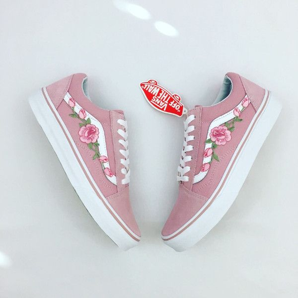 aede9a0d421a19 Custom Rose Applique Vans Vans Roses Womens Sneakers Embroidered... ( 115)  ❤ liked on Polyvore featuring shoes