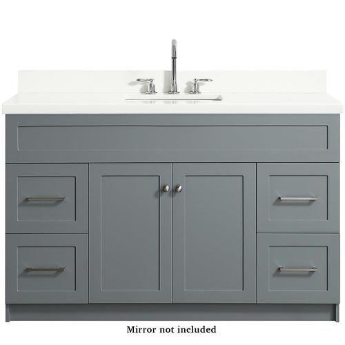 Ariel Hamlet 55 In Gray Single Sink Bathroom Vanity With White Quartz Top Lowes Com Grey Bathroom Vanity Quartz Vanity Tops Single Sink Bathroom Vanity