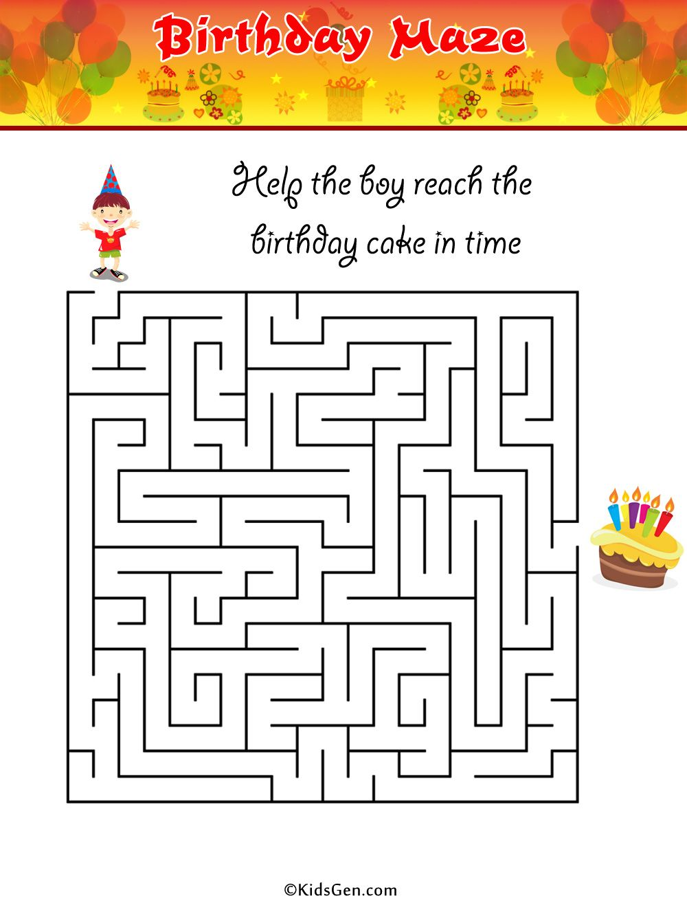 hight resolution of birthday maze Colouring Pages   Colouring pages