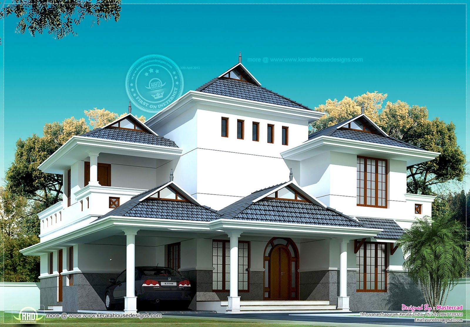 Kerala Model Villa In 2020 Square Feet Villa Design Free House Plans House Styles