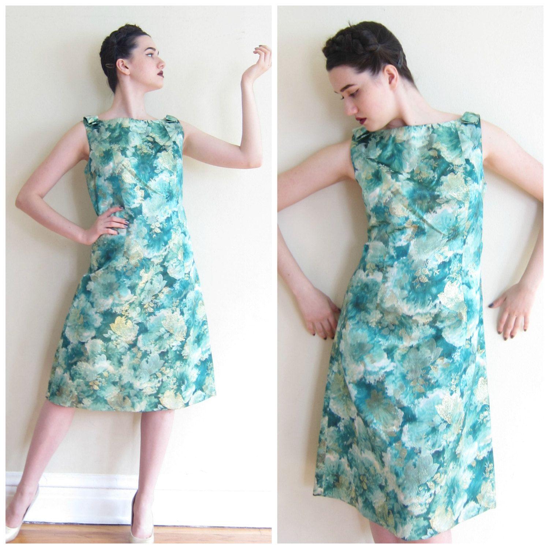 Vintage 1950s 1960s Satin Floral Print Blue Dress / 50s 60s ...