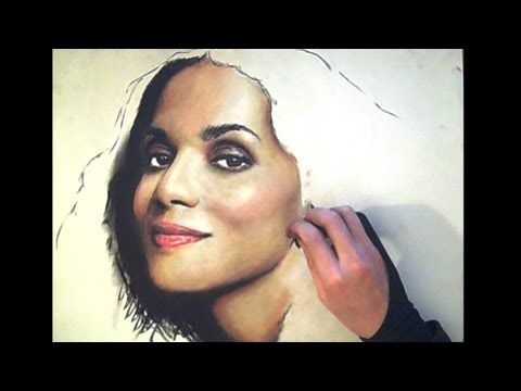 Gorgeous Halle Berry Pastel portrait - from ThePortraitArt - YouTube #portraits #painting #visualarts