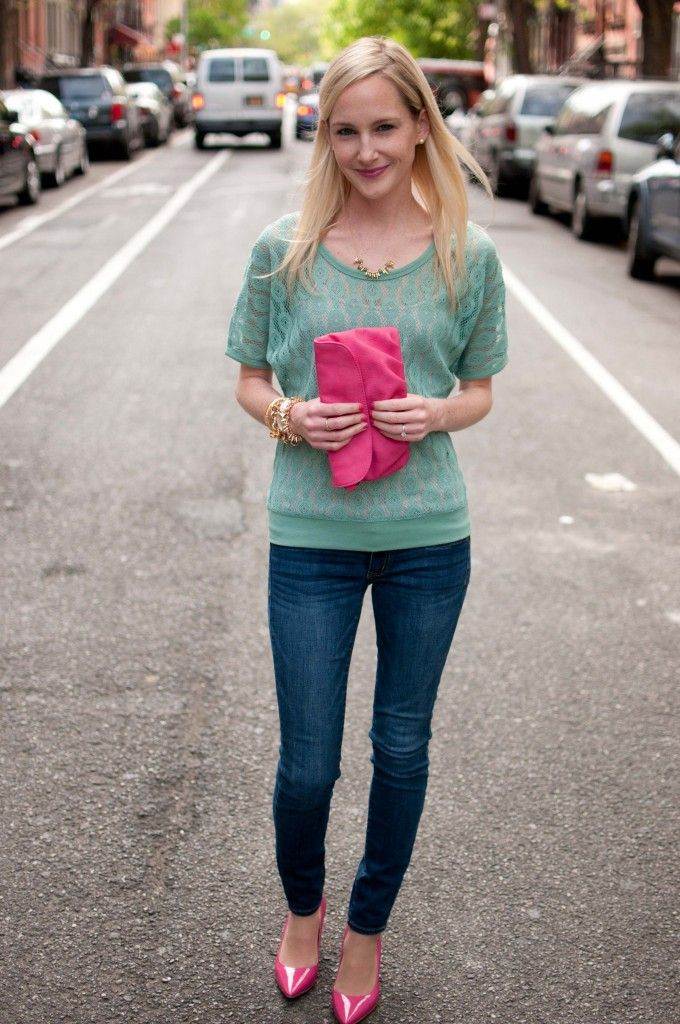 Mint Sweater And Pink Pumps U003d Perfect Spring Color Combo