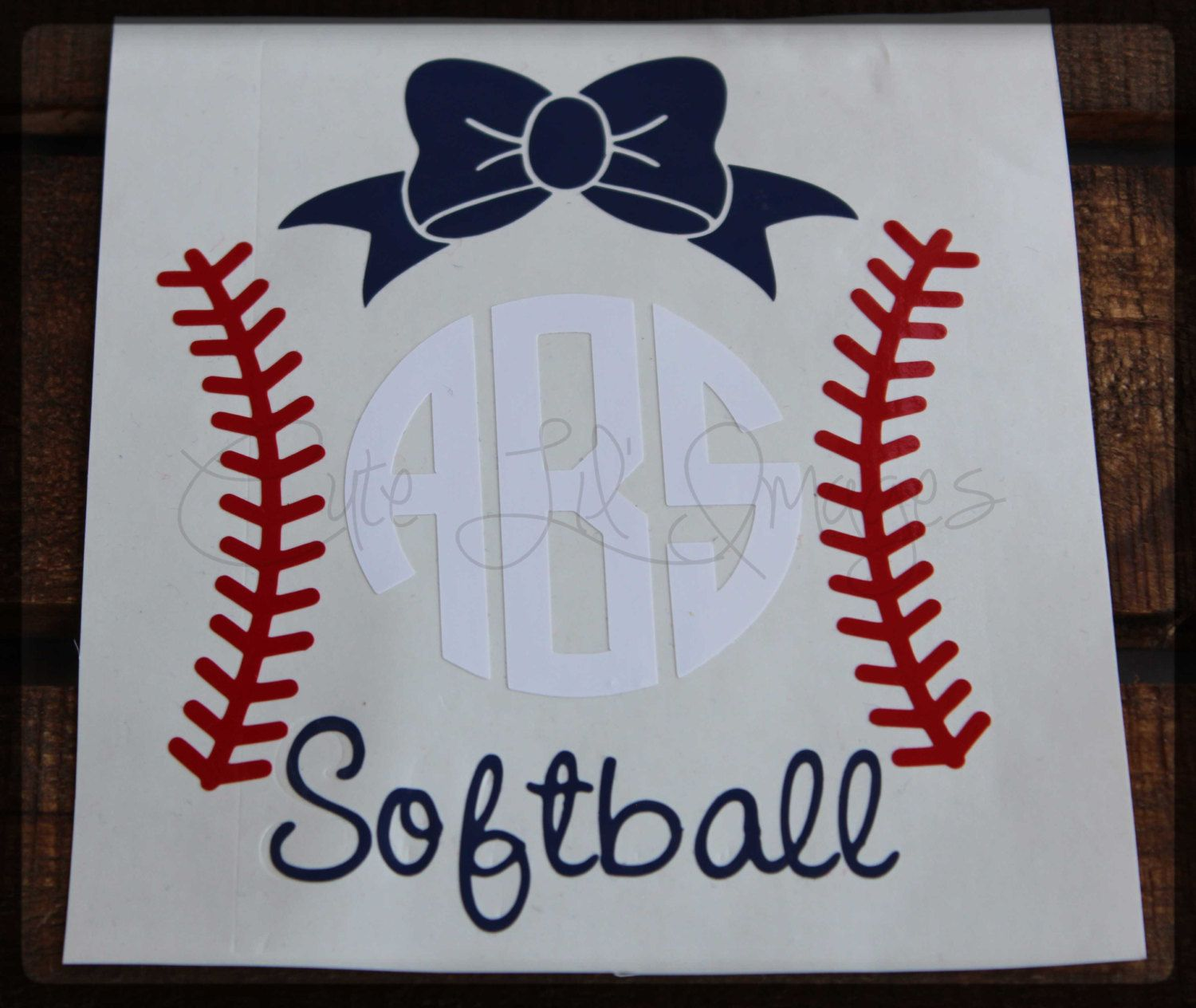Softball Monogram Vinyl Decal Personalized Vinyl Decal Car - How to make car decals with cricut explore