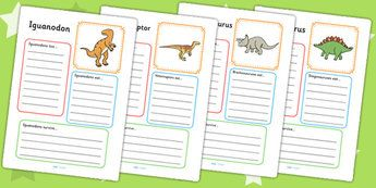 Dinosaur Factfile Worksheets - dinosaurs, fact file, visual aid