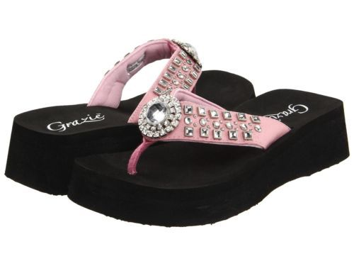 3a3bf26008d9f ... GRAZIE FLIP FLOPS SANDALS SHOES SABINA WOMANS BLING RHINESTONE PINK NEW.