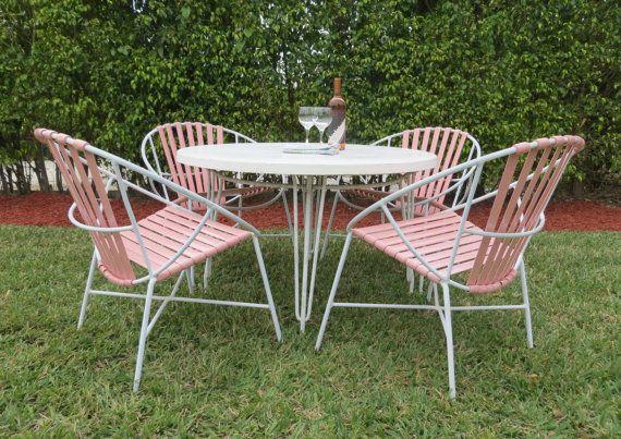 Vintage Italian Patio Set Rare Four Blush Pink Hoop