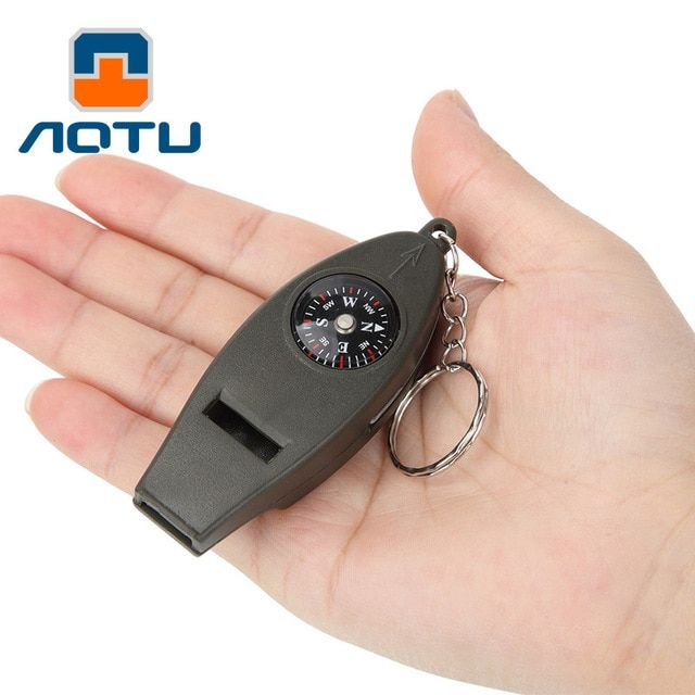 4 In 1 Outdoor Survival Whistle Compass Magnifying Thermometer /& Keychain EDC FB