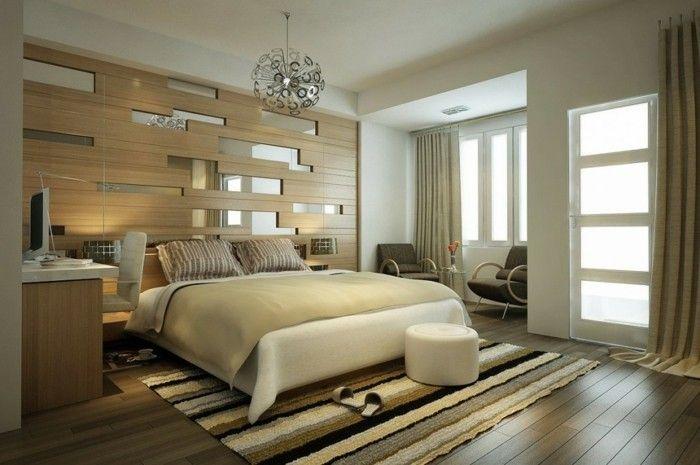 wandgestaltung ideen schlafzimmer spiegel streifenteppich Pinterest - wandgestaltung ideen schlafzimmer