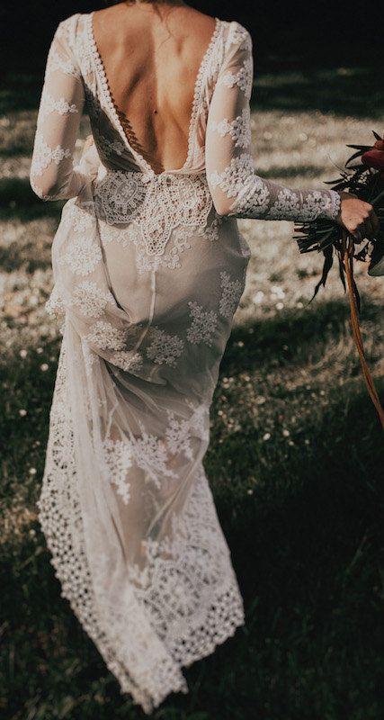 Photo of A FAVORITE Lisa Lace Bohemian Wedding Dress | Cotton lace with an open back Handmade | Long sleeve boho beach wedding dress