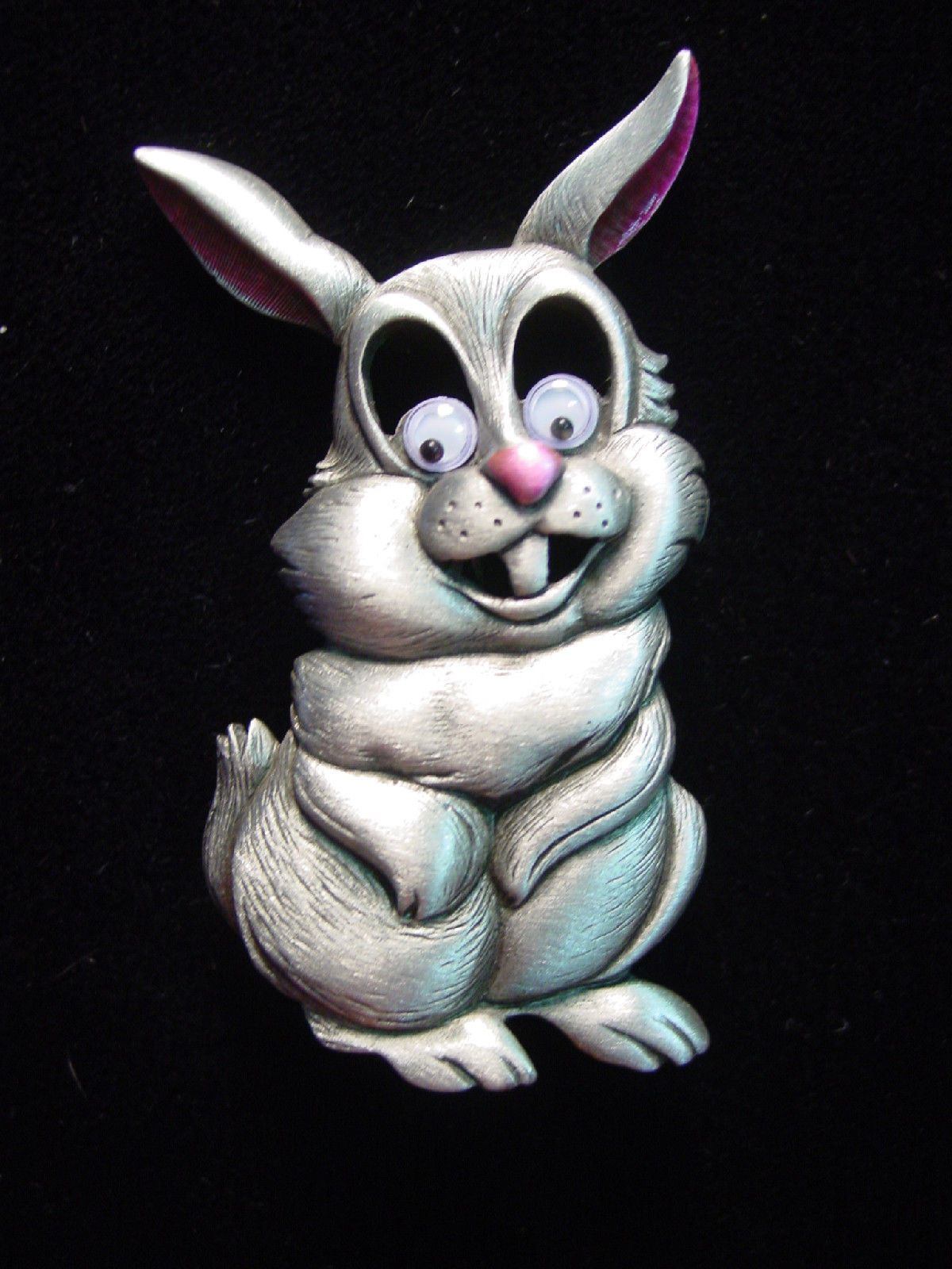 "/""JJ/"" Jonette Jewelry Silver Pewter /'RABBIT w// Roving Eyes/' Pin ~ Cute Piece!!"