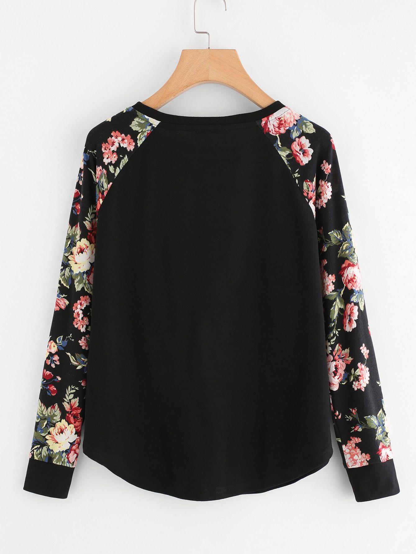 c080689b02 Floral Raglan Sleeve Curved Hem Top -SheIn(Sheinside) Fashion Stores, Fashion  Websites