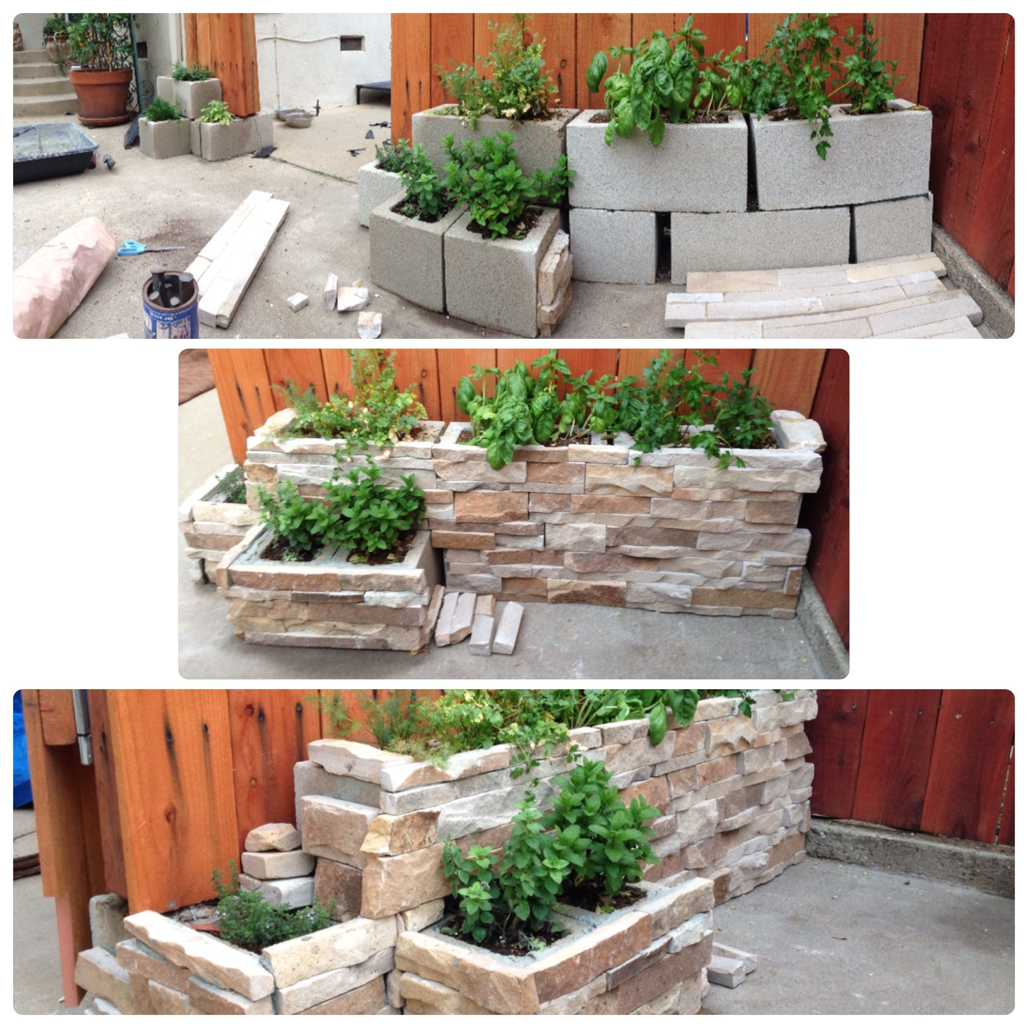 Herb Garden On Fence: Small Herb Garden Made With Cinder Blocks And Rock Facing