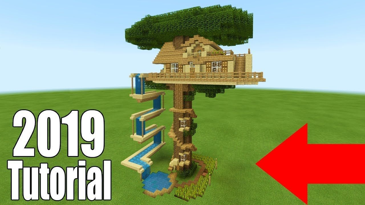 Minecraft Tutorial  How To Make A Ultimate Survival Tree House With A Water Slide 2019 House