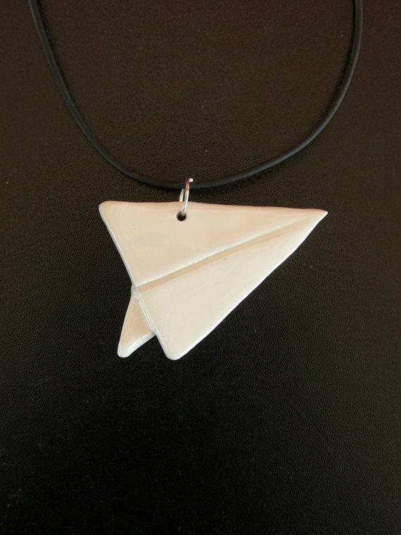 Ceramic White Origami Plane PendantWhite Paper by TatjanaCeramics, $8.00