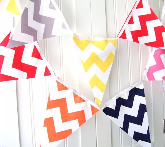 9 Feet Banner 21 Flag Bunting Chevron Navy by vintagegreenlimited, $32.00