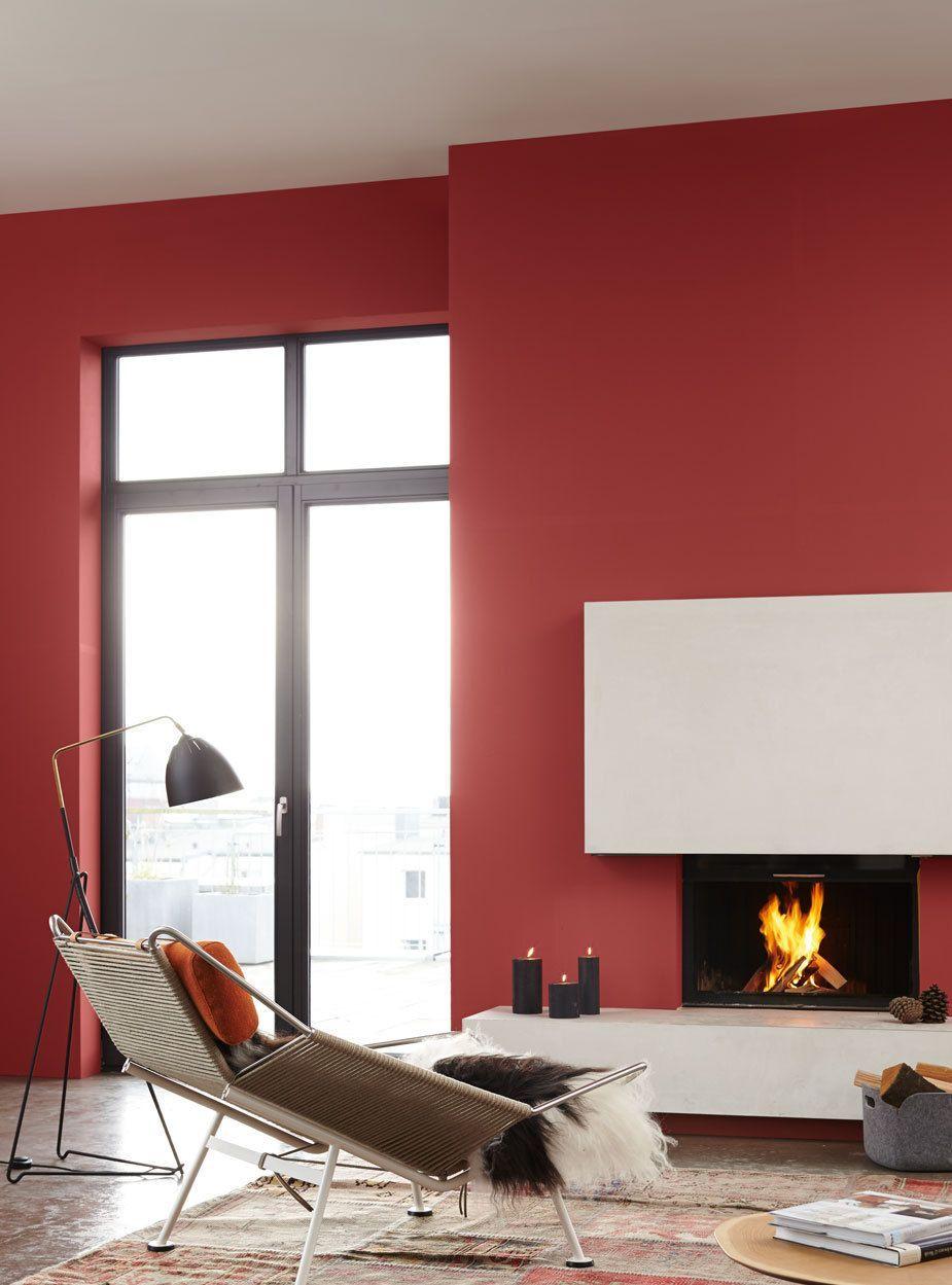 Wohnzimmer in rot  Wohnideen in 2019  Wandfarbe Feine