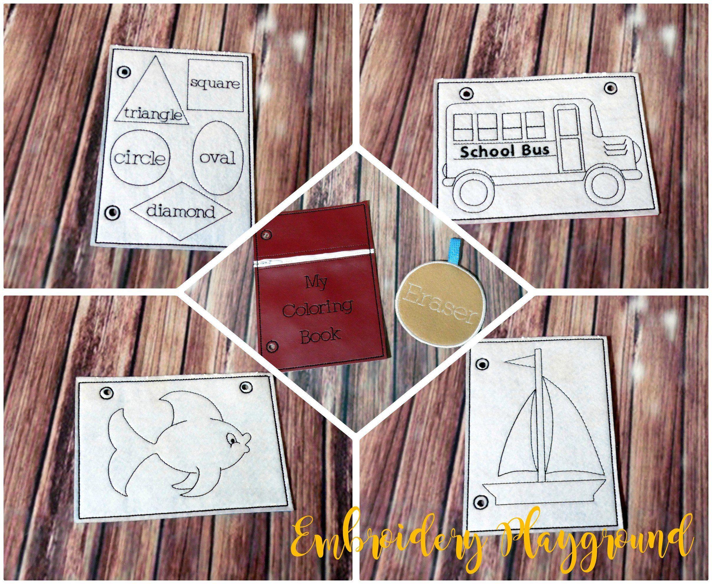 866a85e95819a Coloring Book Embroidery Design - ITH Embroidery Design - Reusable ...
