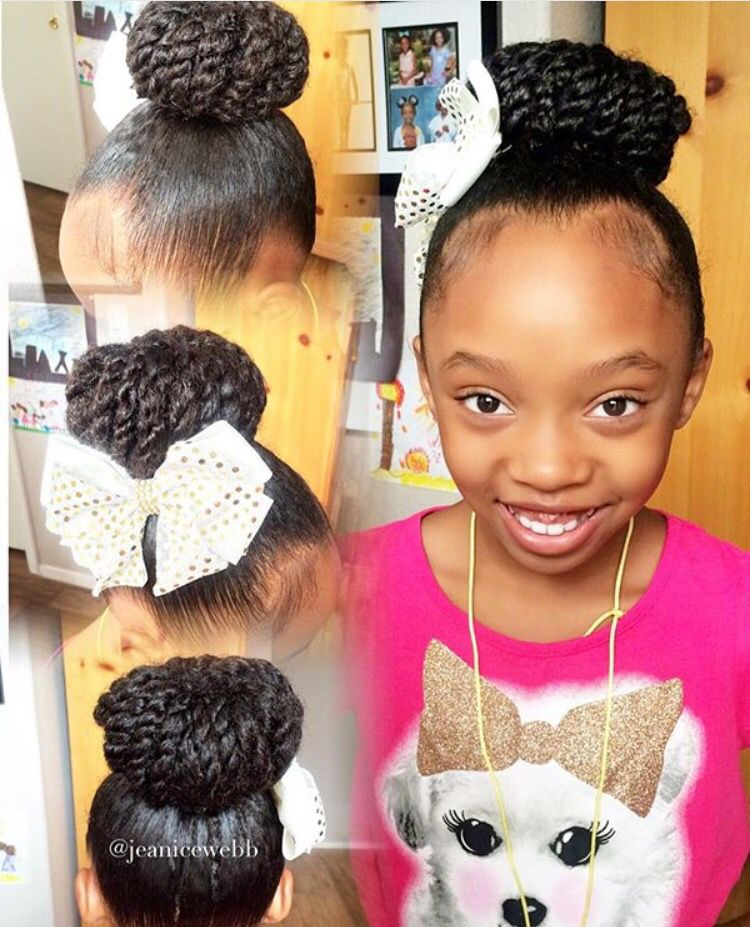 Twisted Top Bun Petites Filles Coiffure Afro Et Petite