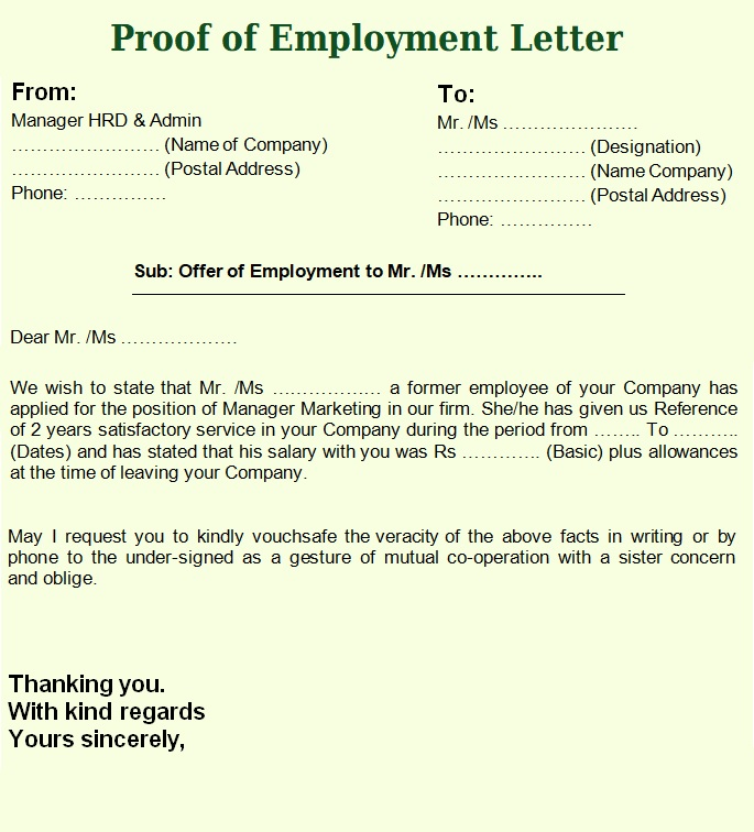 Proof of Employment Letter Samples 4+ Free Printable
