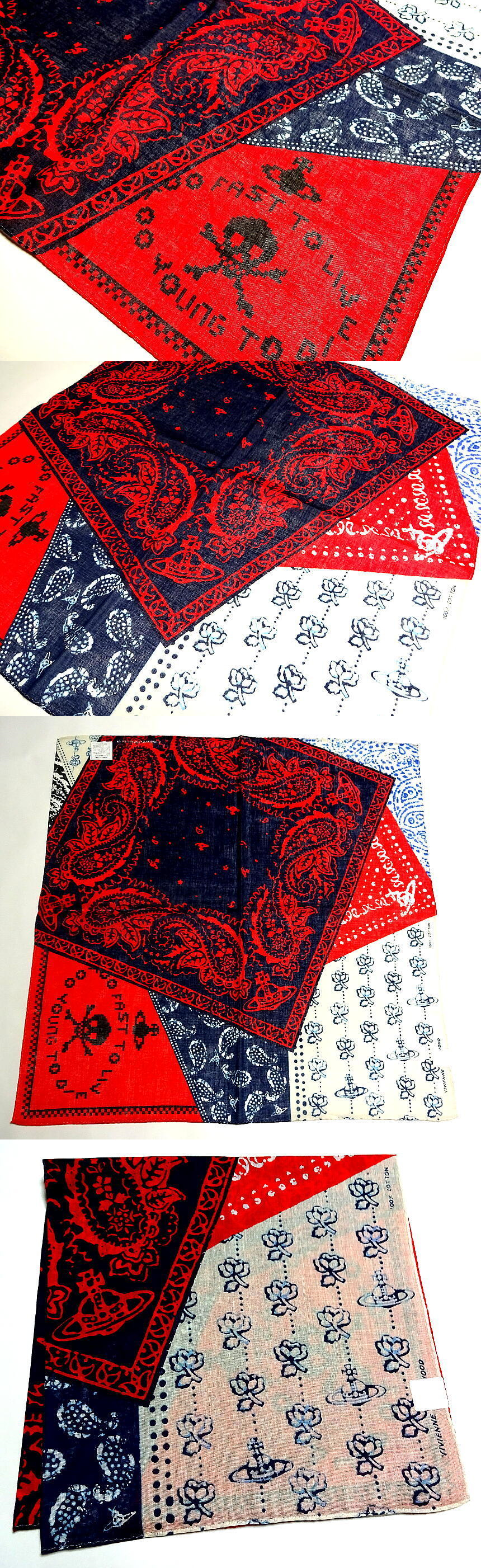 Handkerchiefs 167906: Vivienne Westwood Handkerchief Scarf Bandana Cotton Blue Red Orb L Auth New -> BUY IT NOW ONLY: $32 on eBay!