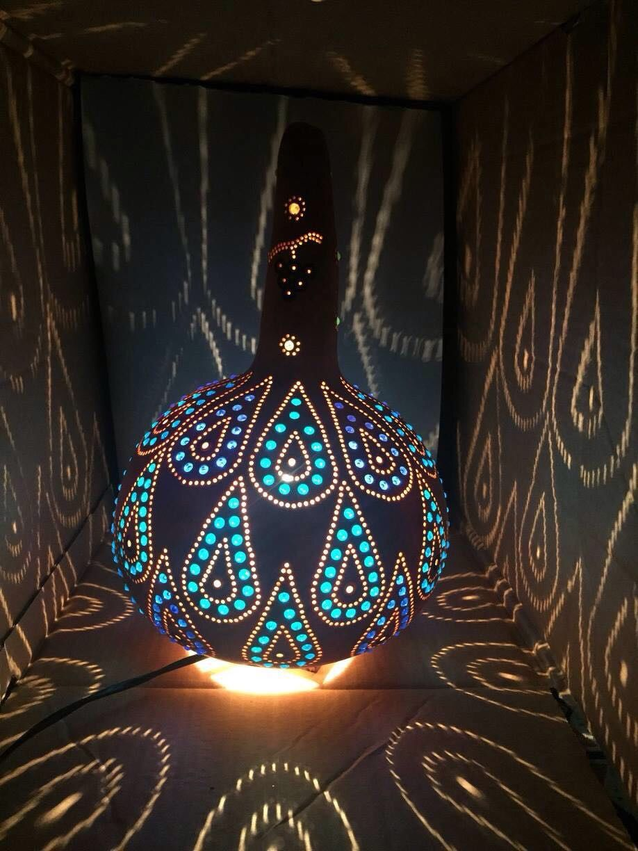 bohemian lighting. Blue Waterdrop Pattern Turkish Gourd Lamp, Bohemian Decor #blue #turkish #gourdlamp # Lighting
