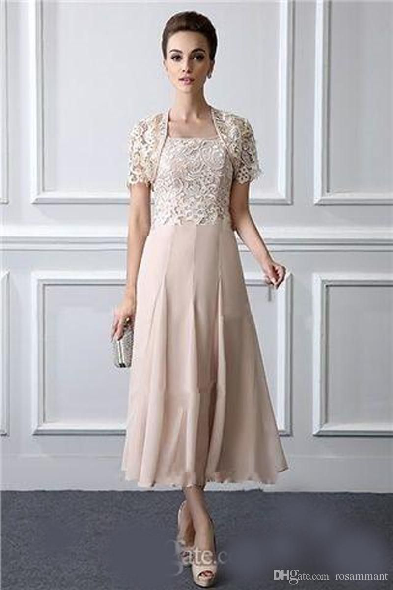 Elegant Mother Of The Bride Dresses Tea Length Lace Formal Gowns With Jacket Square Neck Elegant Two Pieces Wedding Mothers Groom Dres Mother Of The Bride Dress Tea Length Dresses Mother