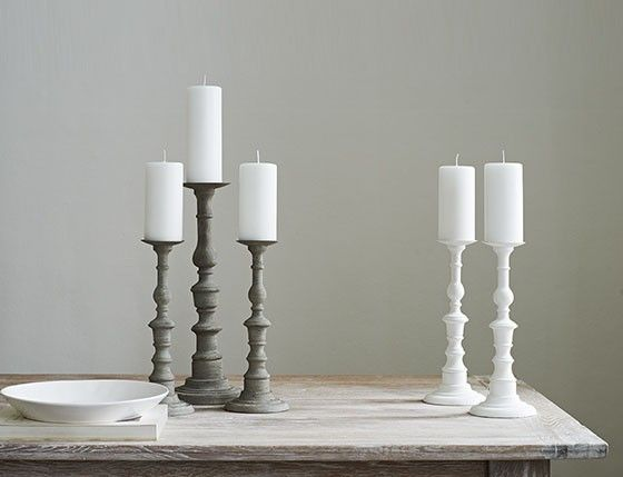 No table or fireplace should be without the wonderful Orvieto wooden candlesticks. These wooden pillar candle holders look great as a pair in two contrasting sizes. Available in two sizes, in matte white or distressed grey finish.#MerryBrissmas