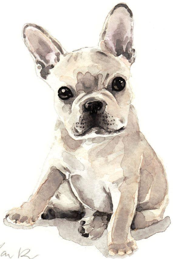 French Bulldog Puppy Cute Innocent Original By Laurarowstudio