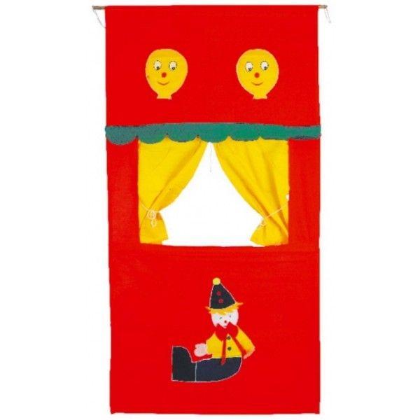 Théâtre de marionnettes Très beau théâtre en tissu, avec poches à l'arrière pour les marionnettes. Dimensions : Env. 150 x 70 cm - Réf. Legler 7174