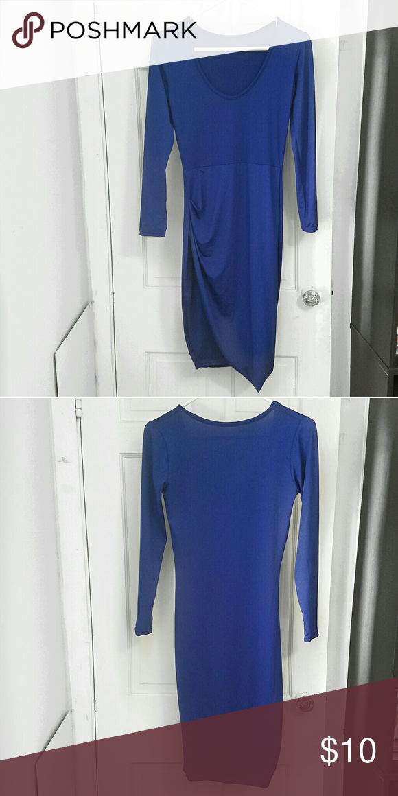 Blue Bodycon Dress Blue Bodycon Dress Side Rouched Slit Dresses
