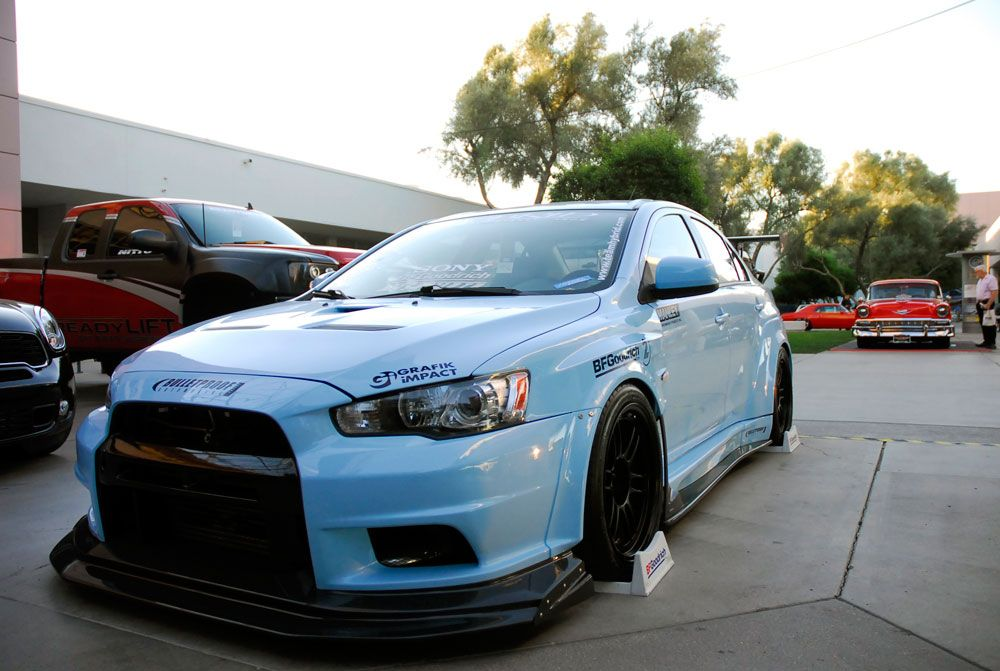 team hybrids custom mitsubishi lancer evolution x features performance air filter at sema knfilters