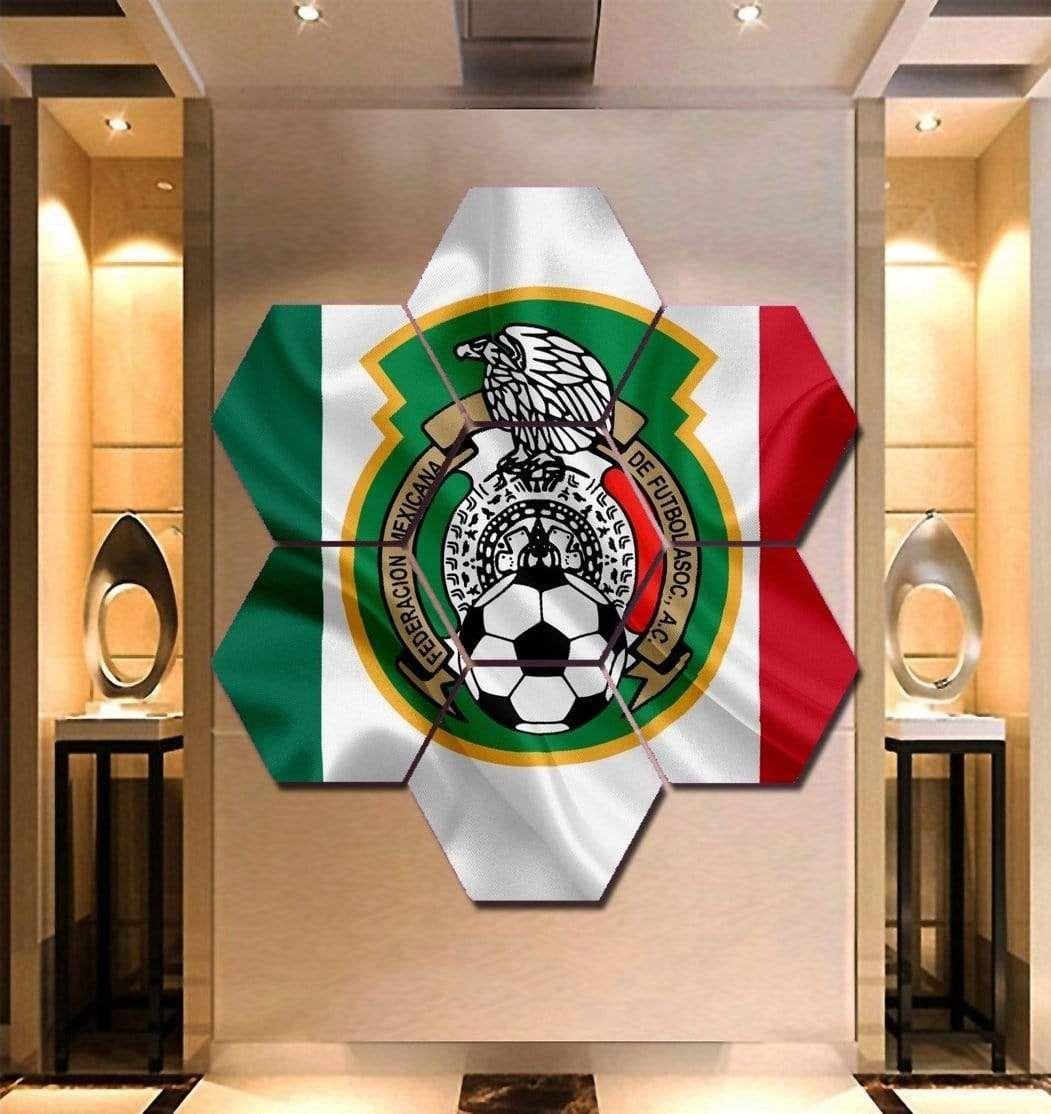 Mexico National Football Wall Art | Canvas Painting Framed – Hexagon – 29 x 31 Inch