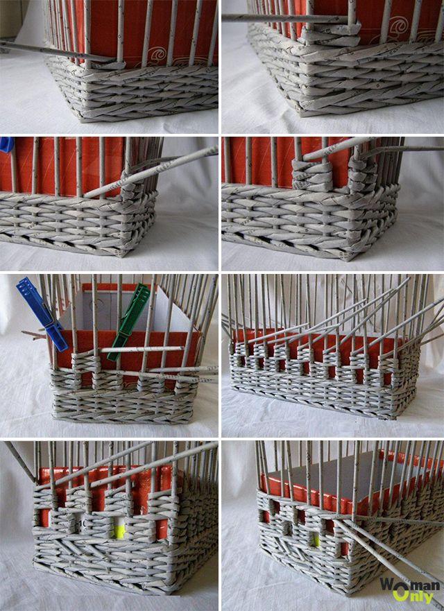 обеденный плетем корзинки из газет с картинками самые