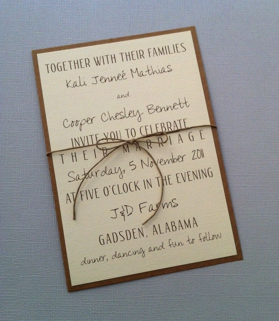Rustic Wedding Invitation Ideas: Rustic Modern Wedding Invitations. $2.00, Via Etsy