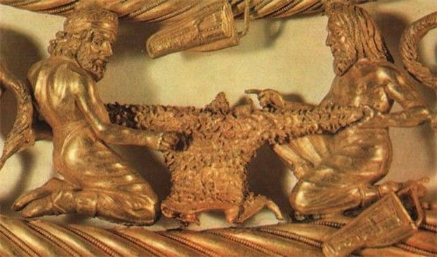 A detail of a Scythian gold pectoral from the Tovsta Mohyla kurhan, 4th century BC (Museum of Historical Treasures of Ukraine).