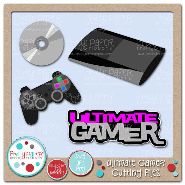Video Gamer Cutting Files - perfect graphics to represent the video game fan in your life.  Great for scrapbooking.