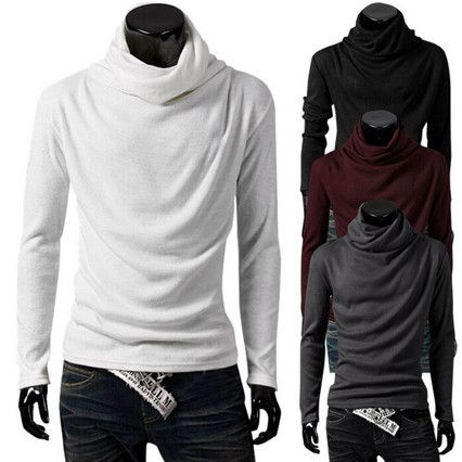 Funnel Neck Drop Down Front Design Mens Slim Fit Tee | Sneak Outfitters