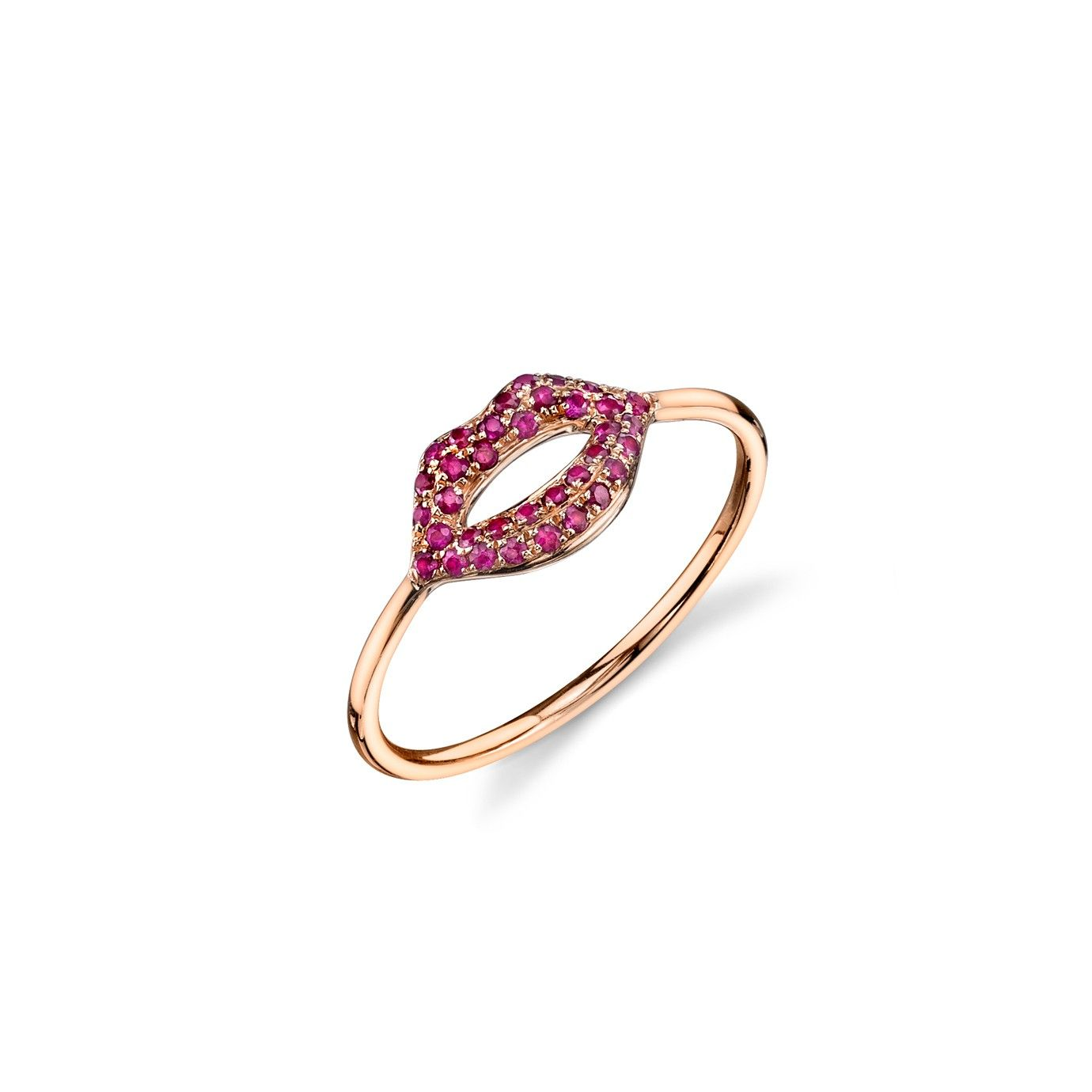 Rose Gold Ruby Lips Ring By Sydney Evan With Images