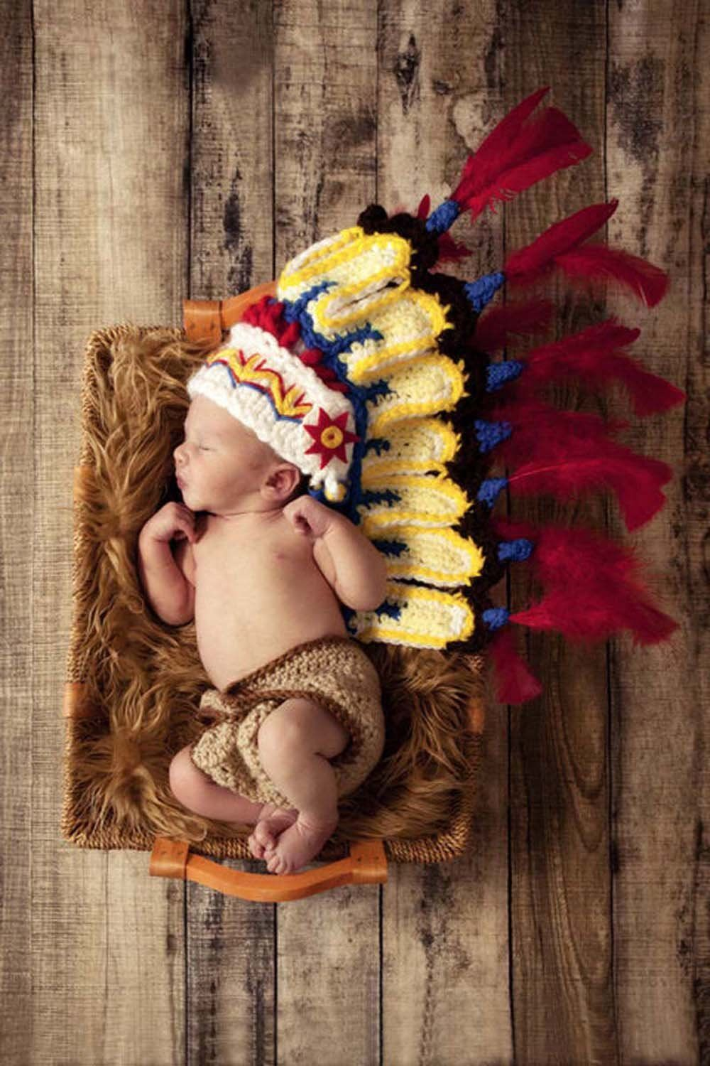 043ee8249 Photography Prop Baby Costume Cute Indiana Crochet Knitted Hat Cap Girl Boy  Diaper