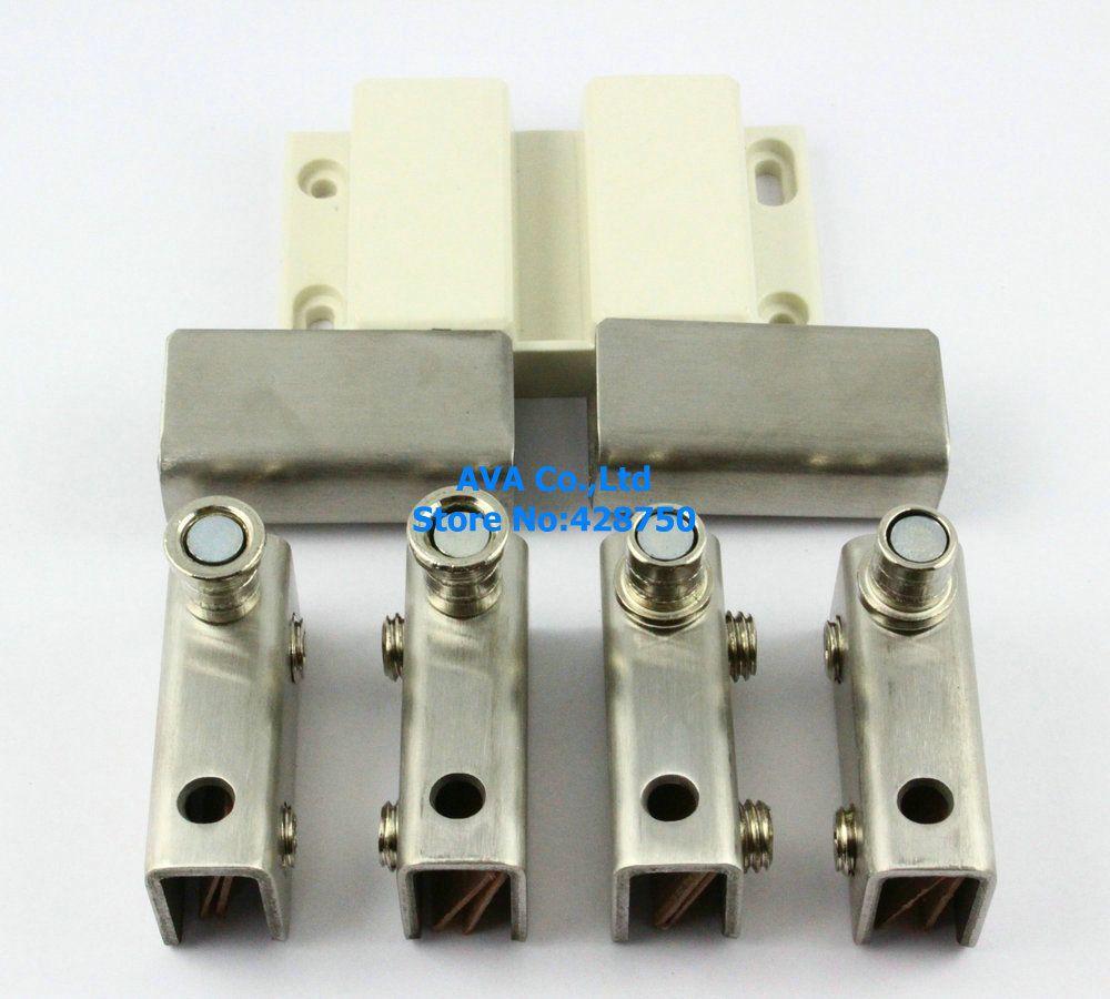 Press Open Double Glass Door Pivot Hinge Set Clamp Clip Magnetic