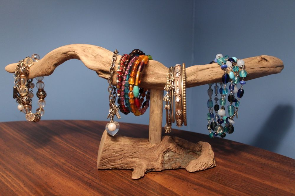 Driftwood jewelry display stand nautical home decoration bracelet holder natural driftwood Home decoration with bangles