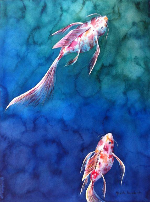 "alberto arredondo; Watercolor, 2012, Painting ""Fishes n.4"""