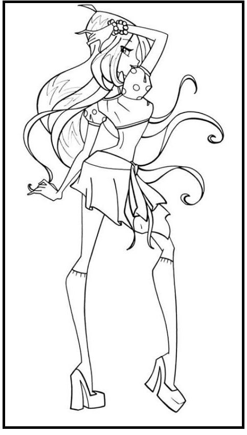 Winx Club Flora Pose coloring picture for kids | Winx Club | Pinterest