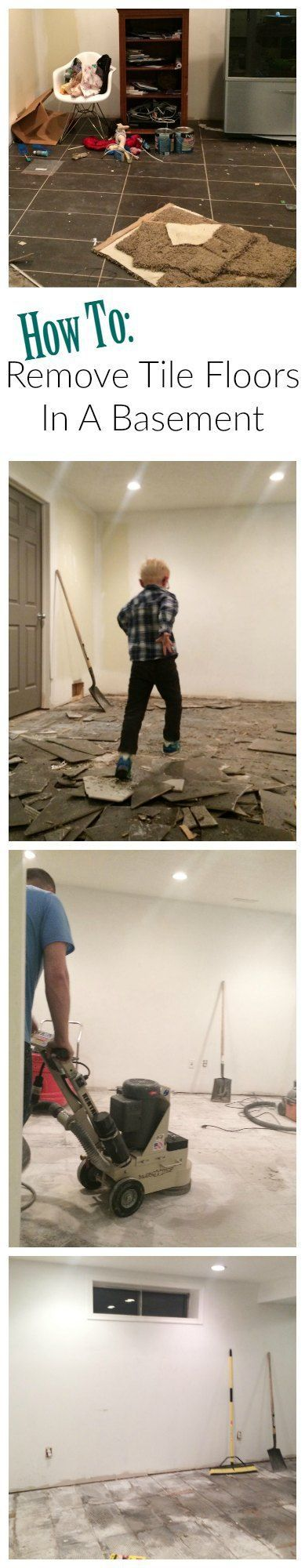 Our Basement How To Remove Tile From Concrete Pinterest Tile