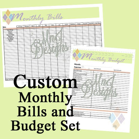 Custom Budget and Bills Set PDF - List Expenses and Monthly Bills - list of expenses