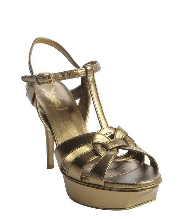 Saint Laurent gold leather knotted detail sling back platform sandals