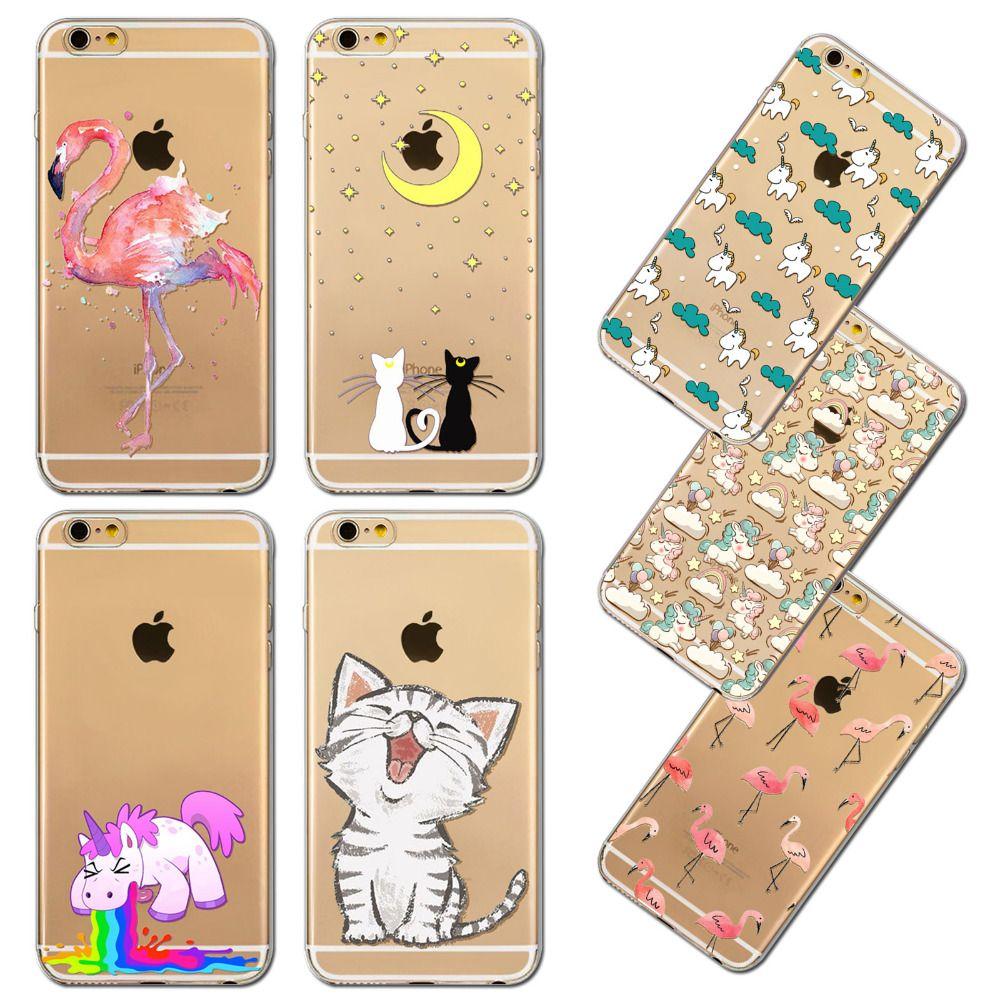 Lindo gato caso de la cubierta para el iphone 6 6 s flamencos unicornio kardashian emoji transparente bolsa de silicona teléfono casos fundas capa coque
